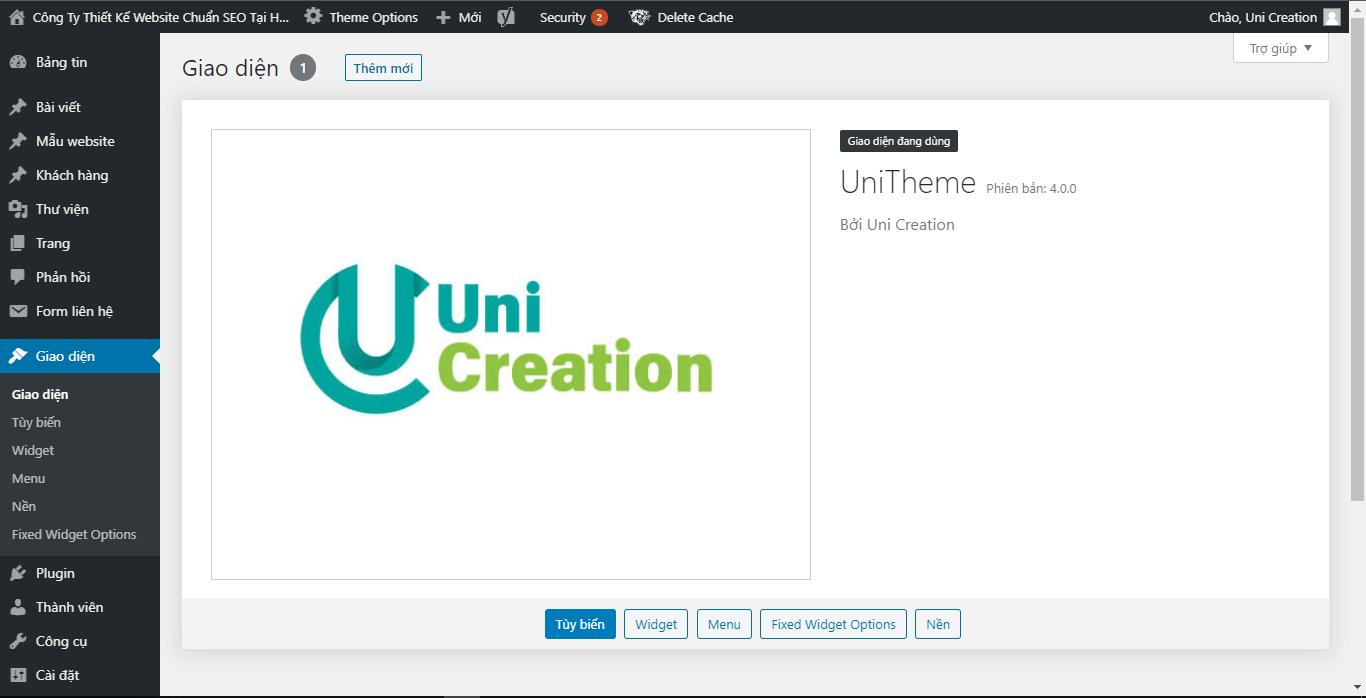 website wordpress Uni creation