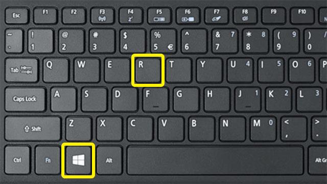 chọn phím windows+ R