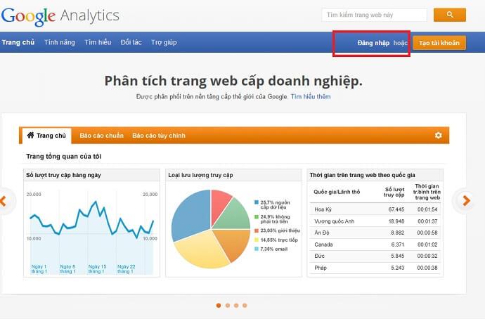 Đăng nhập tài khoản Google Analytics