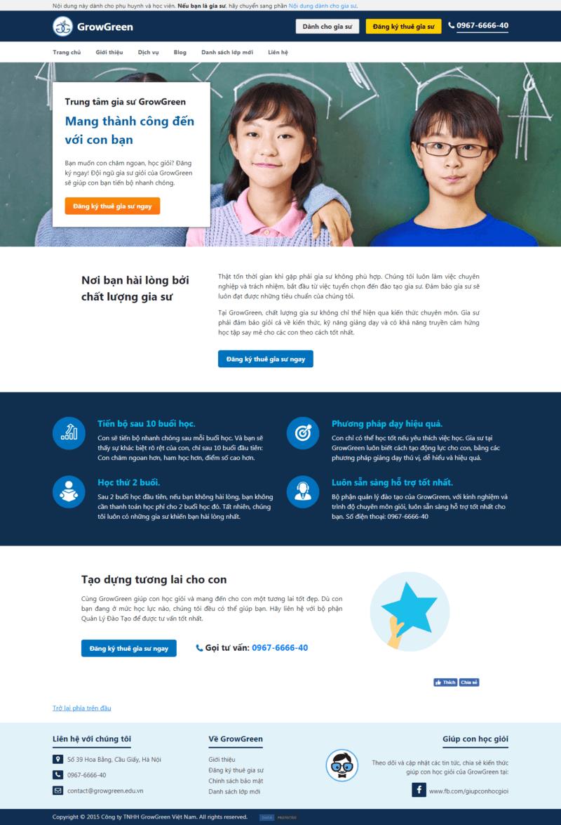 Mẫu website gia sư thiết kế chuẩn SEO