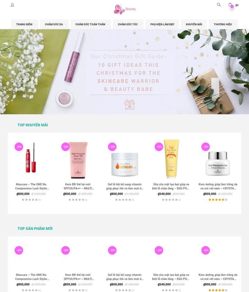 Mẫu website mỹ phẩm đẹp xuất sắc