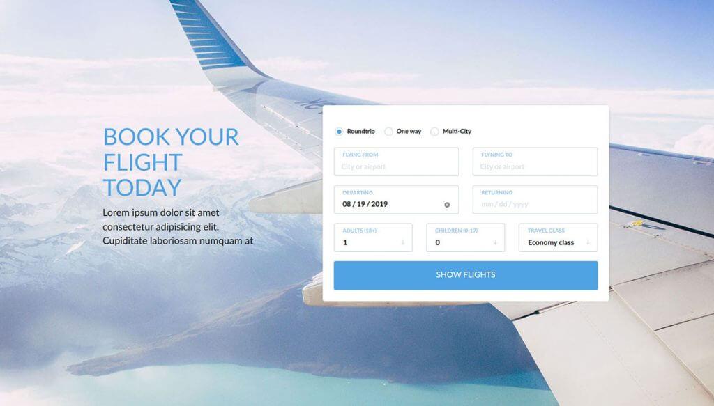 Mẫu website bán vé máy bay đơn giản mà sang trọng