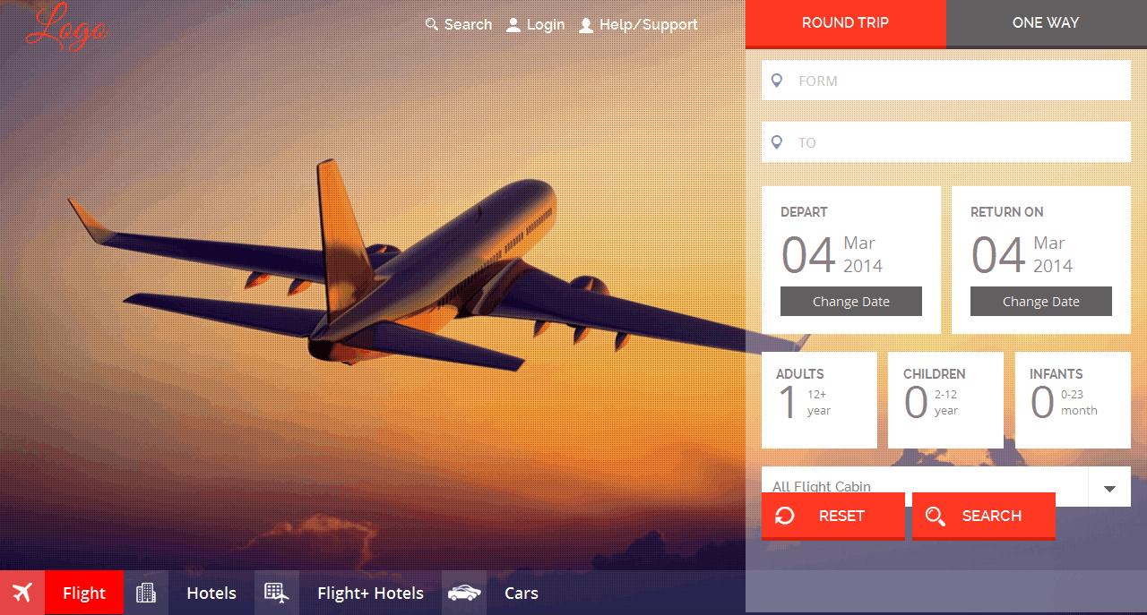 Mẫu web bán vé máy bay đẹp