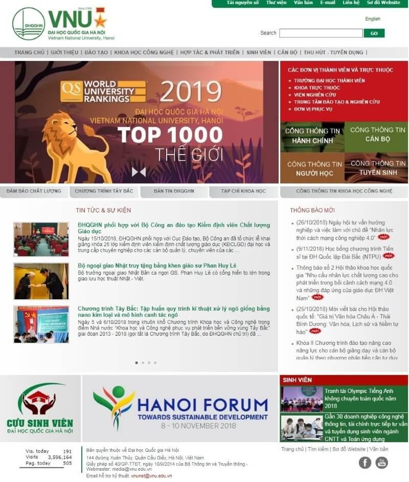 Mẫu website trường Đại học Quốc Gia Hà Nội