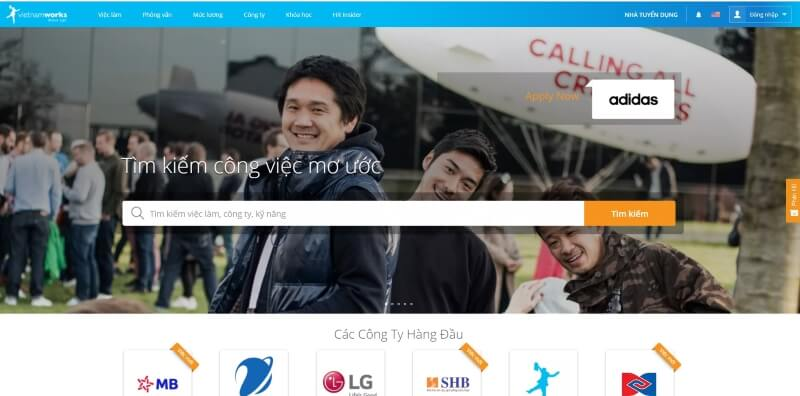 Mẫu website tuyển dụng việc làm của VietnamWork